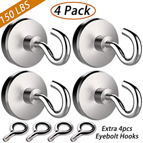 JANSANE 150LBS Magnetic Hooks with 4 Eyebolt Hooks Neodymium Rare Earth Fishing Magnets Heavy Duty Super Strong Powerful Industrial Eyes Ceiling Hooks for Refrigerator Locker Cruise Cabins 4 Pack