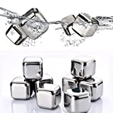 Mayshion 8 Pcs Stainless Steel Whisky Stones Cube Chilling Reusable Glacier Whiskey Rocks with Tong. Best Gifts for Men, Fathers Day Gifts