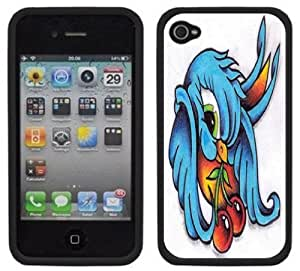 Swallow Sparrow Cherries Tattoo Handmade iPhone 4 4S Black Hard Plastic Case