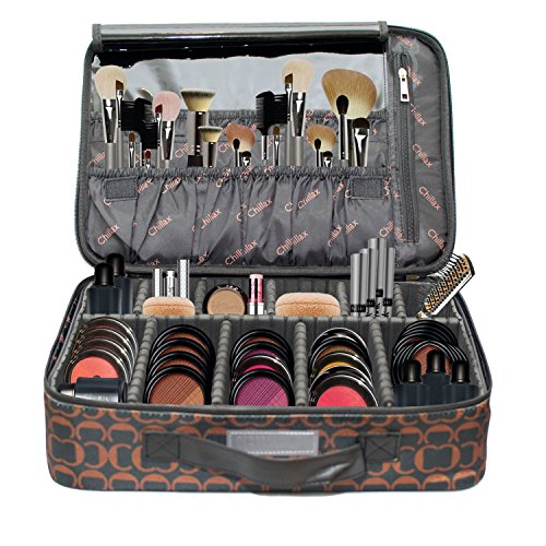 Competition Shadow (Makeup Bag with Brush Holder Large Compartments Professional Train Case By Chillax -2018 New and Improved Version Perfect Storage Organizers kit for lipstick, Mascara, Eye Shadow)