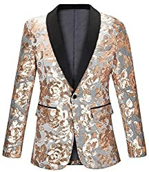 One Button Slim Fit Sequin Velvet Blazer