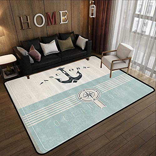 """All Weather mats,Nautical,Aged Ocean Lover Phrase with Anchor Figure and Compass Marine Adventure Design,Beige Blue 59""""x 71"""" Soft Area Children Baby Playmats"""