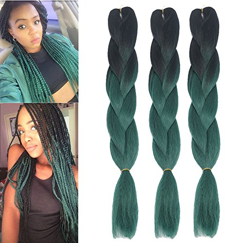 Dingxiu (8Packs,24inch) Ombre Braiding Hair Extensions Afro Jumbo Braids Synthetic Fiber Hair Two Tone Twist Braiding hair 100g/Pack (Black-Green)