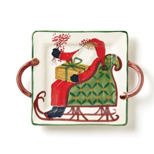 Old St. Nick Square Handled Platter
