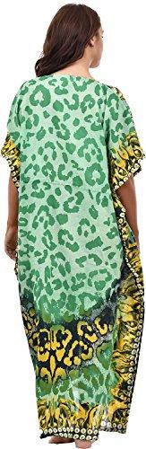 Mujer Largo Cool Kaftans impreso vestido con cintura Tie Summer Green