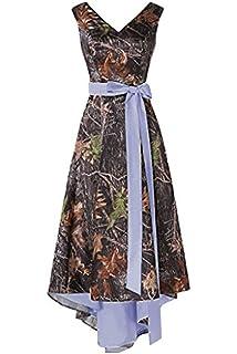 5f21dcbf3358e Ci-ONE High Low Camo Wedding Dress V-Neck Cocktail Dresses for Women Evening