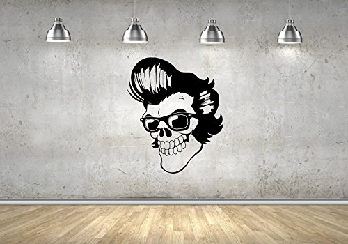 Rockabilly Skull Greaser Skeleton Glasses Horror Pompadour Art Decals Wall Stickers Vinyl M0052