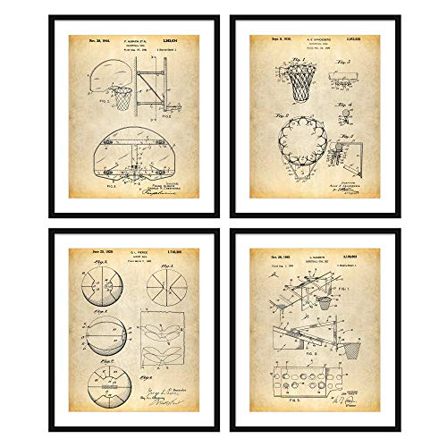 Bestbuddy Pet 8X10 Unframed Vintage Basketball Ball Goal Hoop Patent Print Set of 4 Basketball Coach Basketball Decor Wall Poster Art Print Party N051