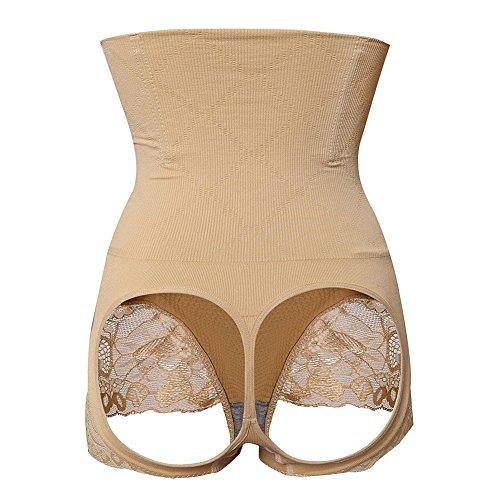 MISS MOLY Women High Waist Trainer Seamless Thong Body Shaper Tummy Control Panties (3XL, Butt Lifter-Beige)