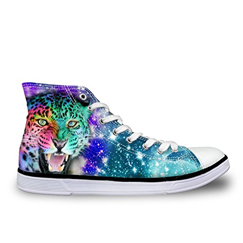 FOR U DESIGNS Fashion Galaxy Canvas Shoes Mens Star Animals High Top Walking Sneakers Leopard uWWNY
