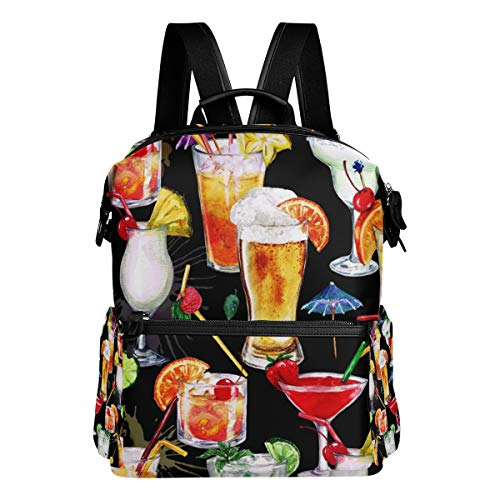 TARTINY Summer Cocktails Seamless Pattern Laptop Backpack Leather Strap School Bag Outdoor Travel Casual Daypack