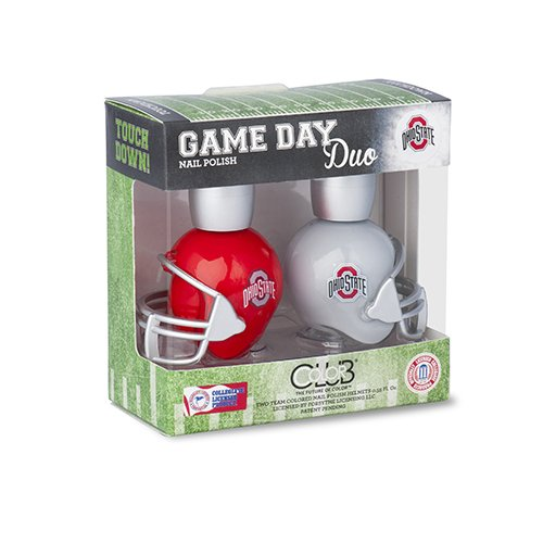 OHIO STATE BUCKEYES GAME DAY DUO NAIL POLISH SET-OHIO STATE UNIVERSITY NAIL POLISH-INCLUDES 2 BOTTLES AS SHOWN