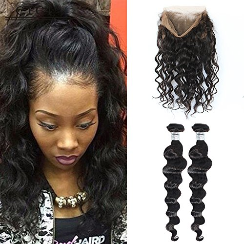 Beauty : Cici Collection 360 Lace Frontal With Bundle Pre Plucked Loose Wave Brazilian Virgin Hair With Closure 360 Lace Frontal Closure With Bundles (12 14 With 10, Loose Wave)