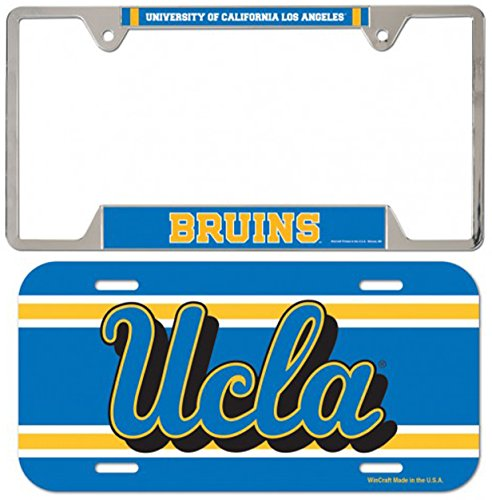 Bundle 2 Items: UCLA Bruins 1 Metal License Plate Frame and 1 Thin Plastic License Plate