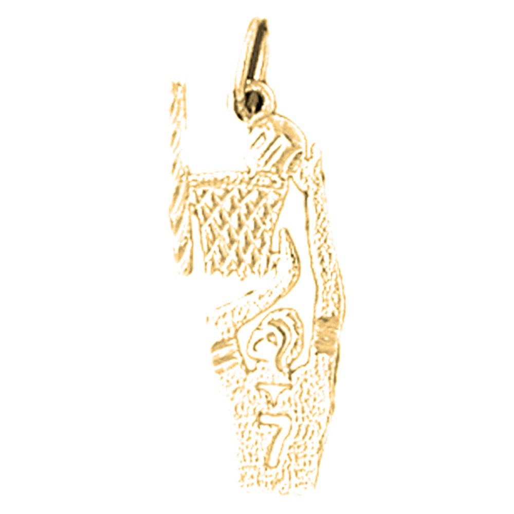 14K Yellow Gold-plated 925 Silver Basketball Player Pendant with 16 Necklace Jewels Obsession Basketball Player Necklace