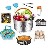 Cooking Accessories for Instant Pot 6 Qt 8 Quart - Steamer Basket,Cheesecake Pan,Egg Steam Trivet Rack,Bonus Recipe Cookbook for Instapot