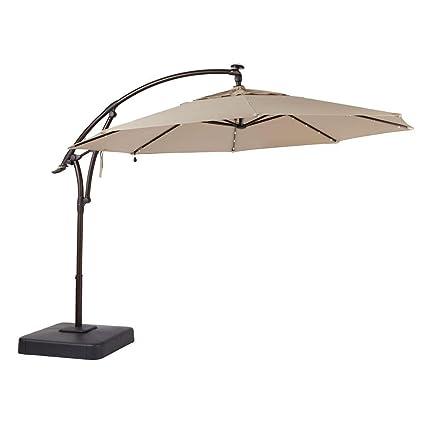 Merveilleux Hampton Bay 11 Ft. Offset LED Patio Umbrella In Tan (132x111x132, Sand)