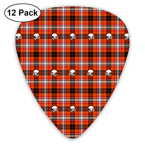 Funny Halloween Red Gingham Death Skull Bendy Ultra Thin 0.46 Med 0.73 Thick 0.96mm 4 Pieces Each Base Prime Plastic Jazz Mandolin Bass Ukelele Guitar Pick Plectrum Display ()
