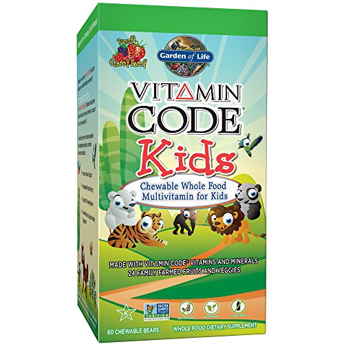 Garden of Life Vegetarian Multivitamin Supplement for Kids - Vitamin Code Kids Chewable Raw Whole Food Vitamin with Probiotics, 60 Chewable Bears (Code One Vitamin Raw)