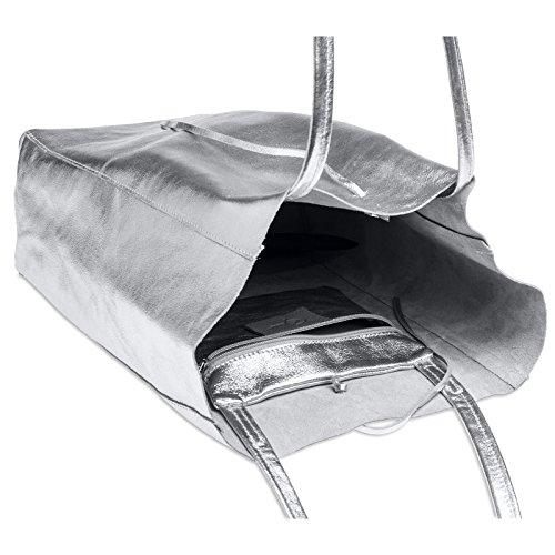 Metalizado para Metalizado Mujer Cuero de de Genuino A4 Bolso Shopper CASPAR Plateado TL781 Hombro Grande pt6Sq