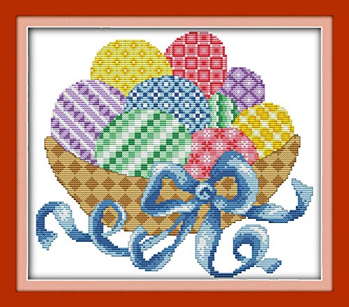 YEESAM ART New Cross Stitch Kits Advanced Patterns for Beginners Kids Adults - Easter Colorful Eggs - DIY Needlework Wedding Christmas Gifts (Easter Eggs, ()