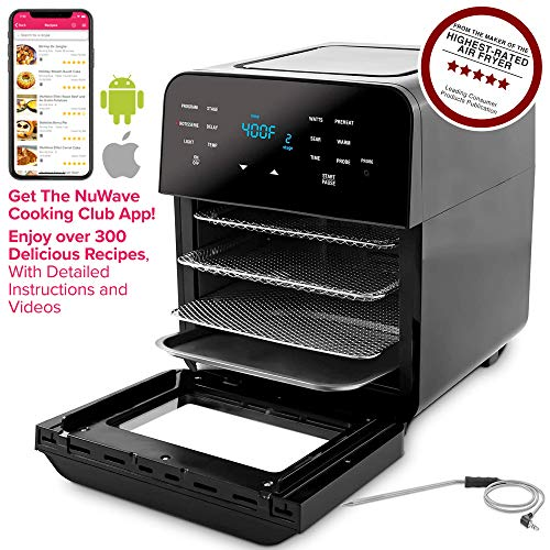 NUWAVE BRIO 14-Quart Large Capacity Air Fryer Oven with Digital Touch Screen Controls and Integrated Digital Temperature Probe; 3 Heavy-Duty NEVER-RUST Stainless Steel Mesh Racks Great for Multi-Level Family Meals; Drip Tray; Rotisserie Kit includes Skewers and Basket; 100 Programmed Presets and the Ability to Store and Recall Your Own Programs; 1800 Watts w/ Adjustable Wattage Control – 900, 1500 & 1800; Advanced Functions include PROGRAM, SEAR, STAGE, PREHEAT, DELAY, WARM, ROTISSERIE, w/ LIGHT