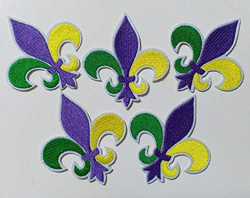 6.6x7.6cm 10pcs Mardi Gras Fleur De Lis Patch Iron On Embroidered Patches Appliques Felt Patches Machine Embroidery Needlecraft Project ()