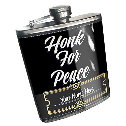 (Neonblond Flask Classic design Honk For Peace Custom Name Stainless Steel)