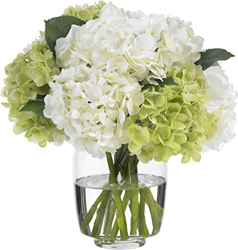 - Diane James Faux Green and White Hydrangea Bouquet in Glass Vase