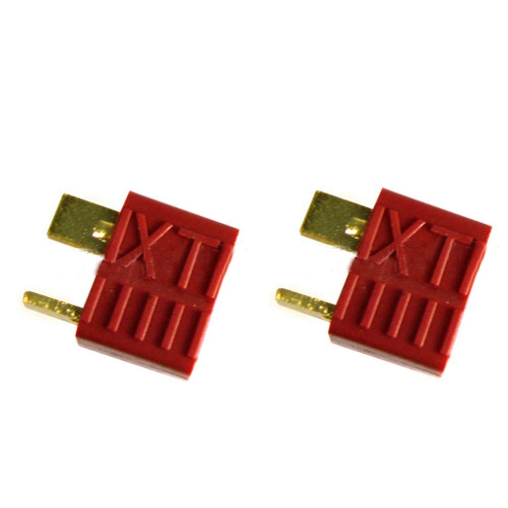 1 par de conectores T-Plug estilo Deans macho y hembra para bater/ía RC Li-Po avi/ón de coche rojo