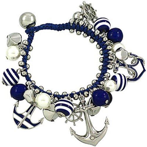 Life Aquatic Costumes (Chunky Nautical Navy Blue Silvertone Anchor Helm Sea Charm Bracelet, 8