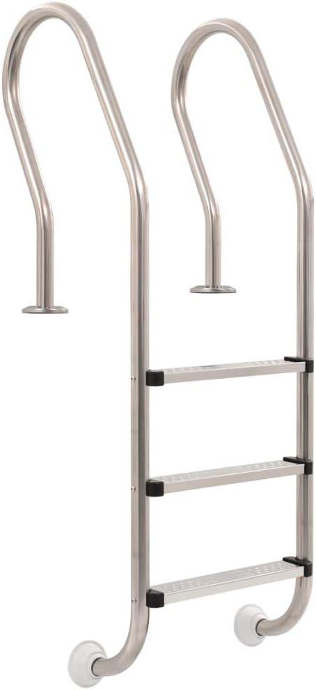 vidaXL Escalera Piscina con 3 Peldaños Acero Inoxidable 120cm Rampa Accesorios
