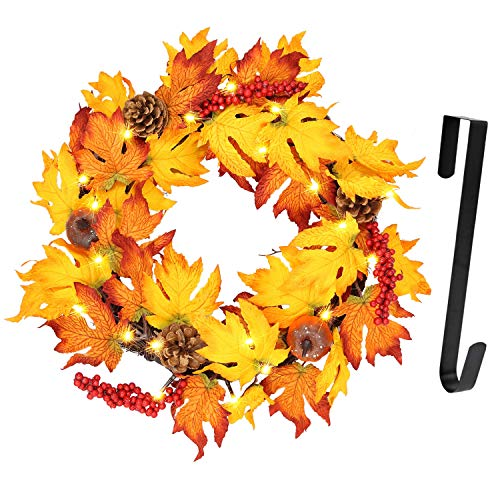 Twinkle Star 17″ Fall Wreath with Metal Hanger, Pre-lit Lights Autumn Harvest Wreath, Multicolor Artificial Maple Leaves Pumpkin Pine Cone and Berries, for Front Door Wall & Thanksgiving Decorations