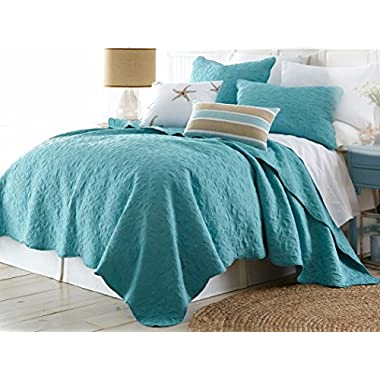 Aqua Blue Coastal Starfish Stitched 3 Piece Full/Queen Size Quilt Set