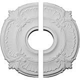 """Ekena Millwork CM18AT2 18""""OD x 4""""ID x 5/8""""P Attica Ceiling Medallion, Fits Canopies up to 5"""", 2 Piece"""