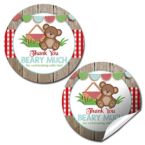 Teddy Bear Picnic Birthday Party Thank You Sticker Labels, 40 2