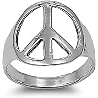 Sterling Silver Plain Peace Sign Ring 18mm (Size 4 to 13)