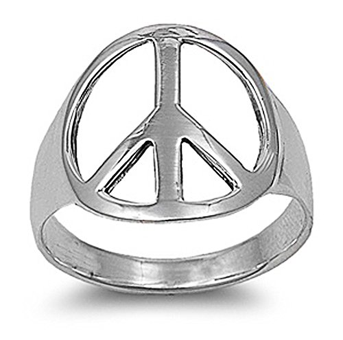 (Sterling Silver Plain Peace Sign Ring 18mm (Size 4 to 13) Size 7)