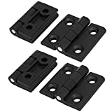 uxcell Household Closet Door 50mmx50mm Aluminium Butt Hinge Black 4pcs