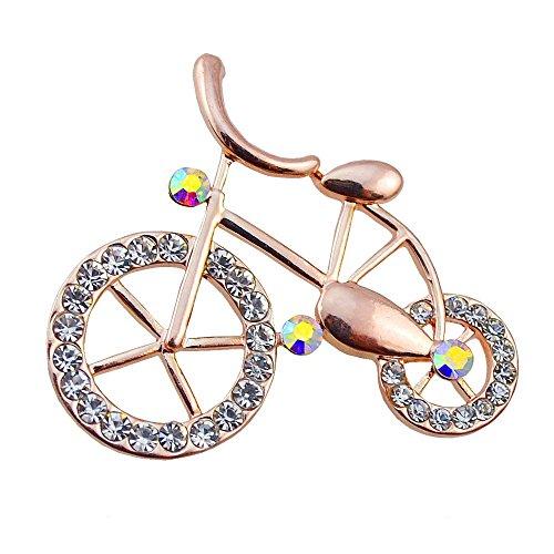 VEBE Gold Plated Handmade Retro Austrian Crystal Bike Bicycle Pin Brooch (Bike Brooch Pin)