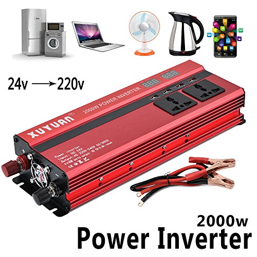 Eachbid 2000W Car LED Power Inverter Converter DC 24V To AC 220V 4 USB Ports Charger 220v Dc Converters