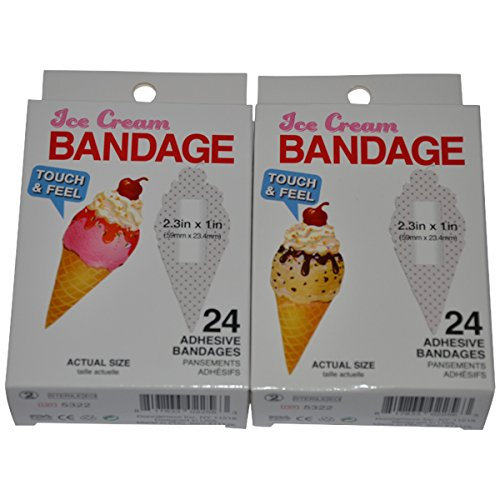 BioSwiss Novelty Bandages Self-Adhesive Funny First Aid, Novelty Gag Gift (2 boxes of 24 bandages) (Ice Cream ()