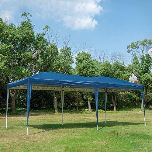 Easyzon 10 x 20FT Pop Up Patio EZ Canopy Tent Heavy Duty Gazebo Pavilion Outdoor Party Commercial Instant Tents Impact Canopies Without Sidewalls, Blue