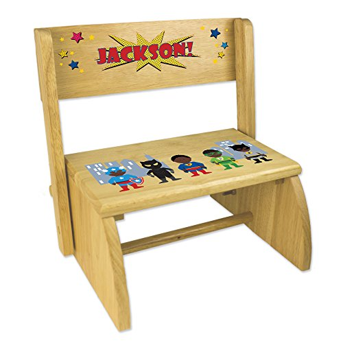 - Personalized Natural Flip and Folding Step Stool with African American Super Hero Design