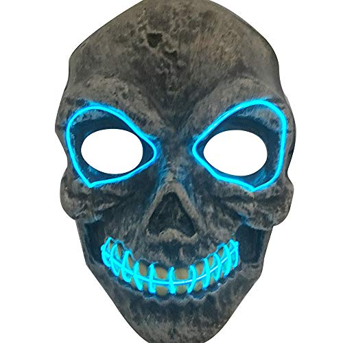 Euone  Mask Clearance , Halloween Skeleton Mask LED Masks Woman Men Glow Scary Mask Light Up Cosplay Mask -