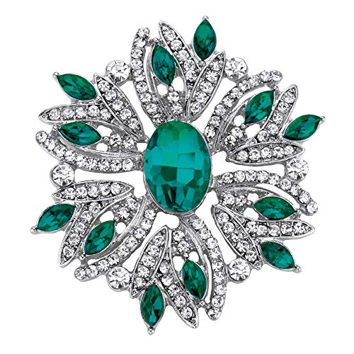 Palm Beach Jewelry Silver Tone Pin Oval and Marquise Cut Green Crystal Holiday Snowflake Pin (47mm)