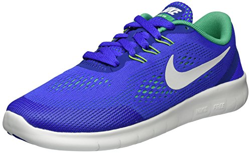 Nike Free Rn (Gs), Zapatillas de Deporte para Niñas Azul (Paramount Blue/stadium Green/off White/pure Platinum)