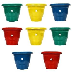 Kraft seeds Plastic Gamla/Planter/Pot, 10-inch (Colour may vary) -Set of 8