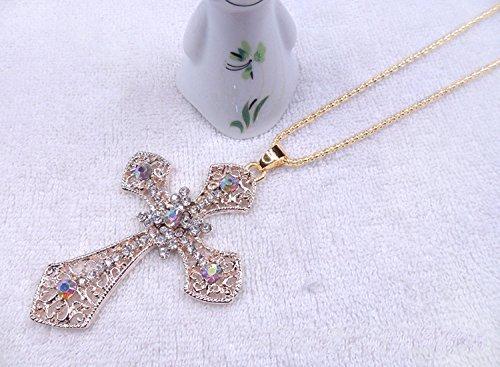 Rhinestone Cross Chain - Beautiful Bead Fashion Ornaments Retro Rhinestone Cross Pendant Long Chain Necklace for Female Sweater