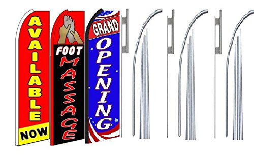 Pack of 3 Foot Massage Grand Opening King Swooper Feather Flag Sign Kit with Pole and Ground Spike Available Now